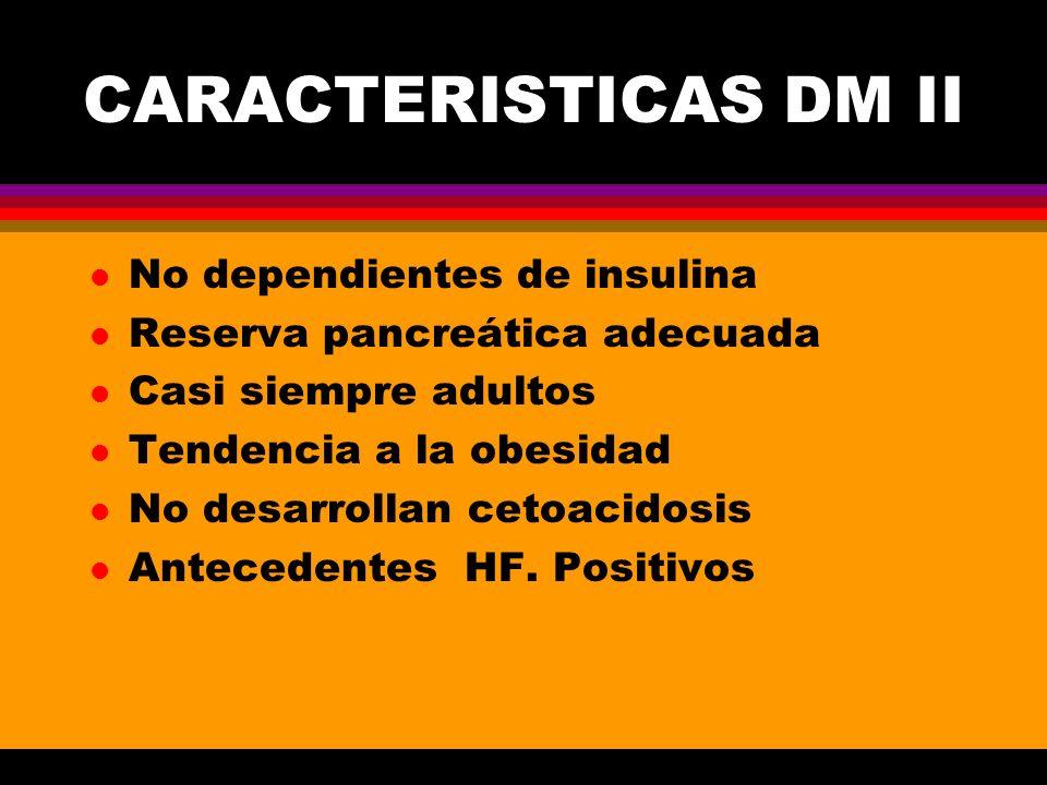 CARACTERISTICAS DM II No dependientes de insulina