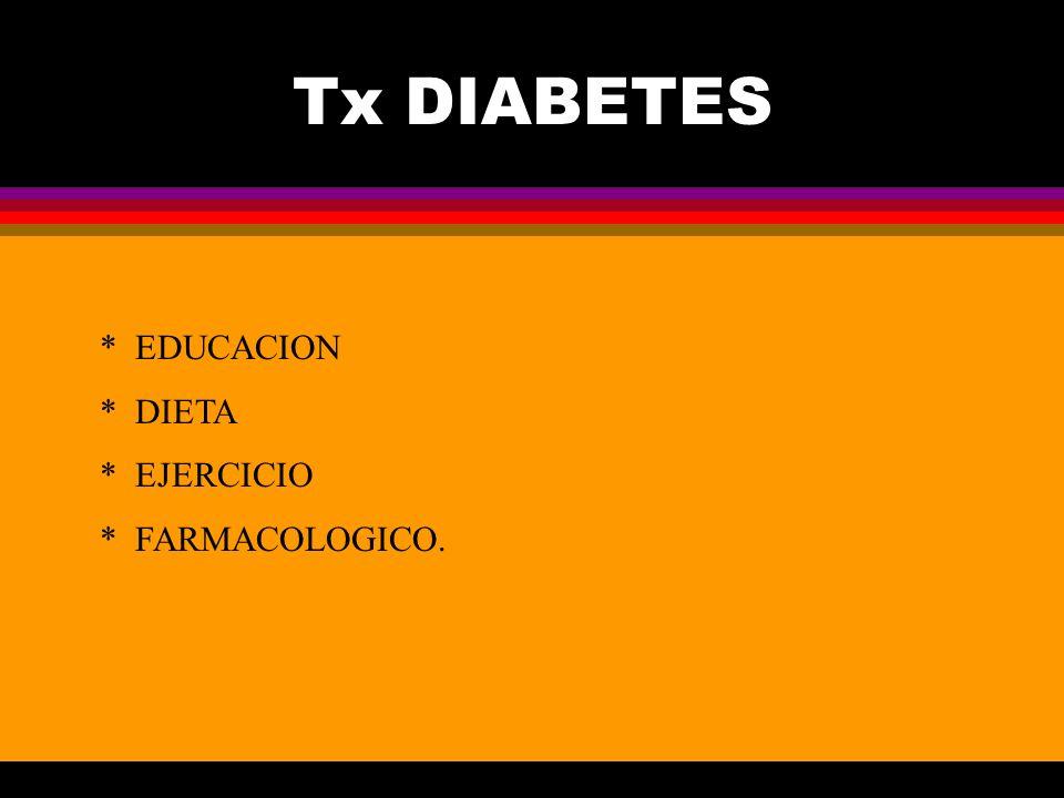 Tx DIABETES * EDUCACION * DIETA * EJERCICIO * FARMACOLOGICO.