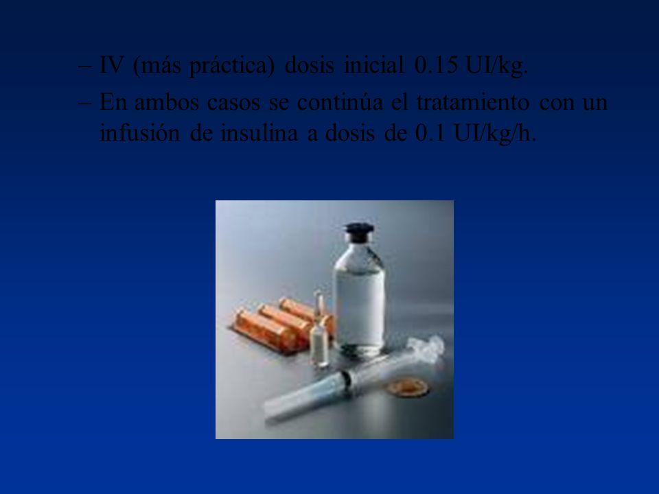 IV (más práctica) dosis inicial 0.15 UI/kg.