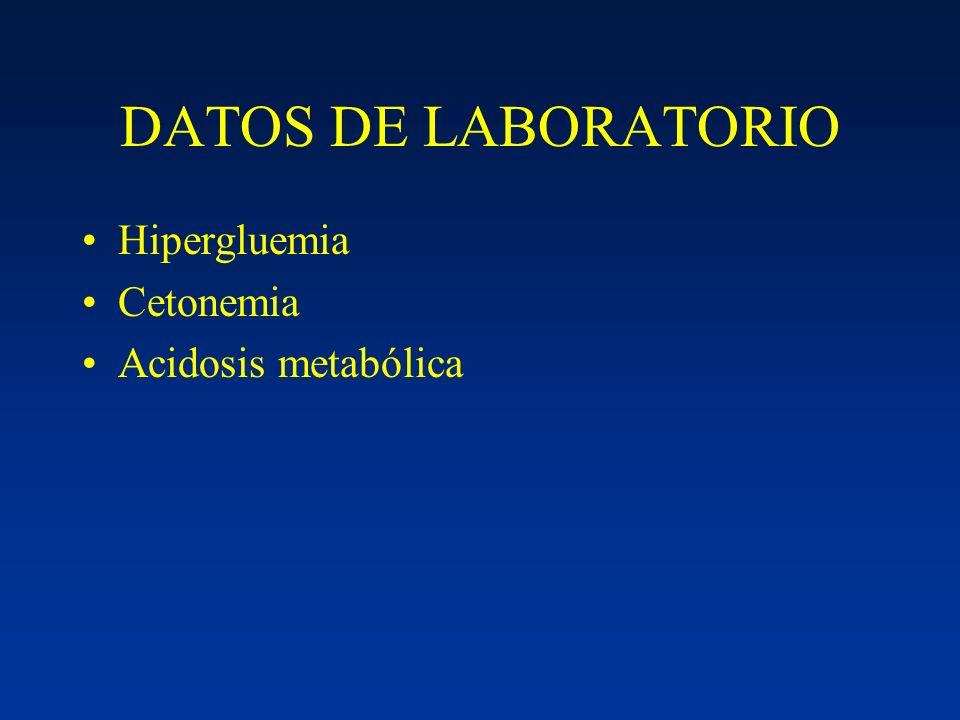 DATOS DE LABORATORIO Hipergluemia Cetonemia Acidosis metabólica