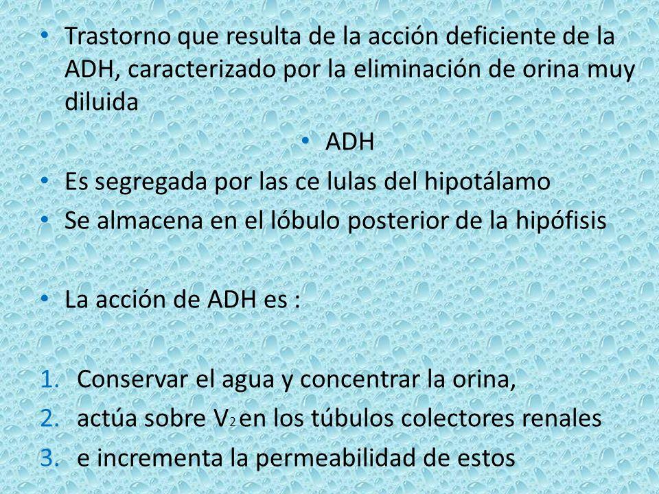 Trastorno que resulta de la acción deficiente de la ADH, caracterizado por la eliminación de orina muy diluida