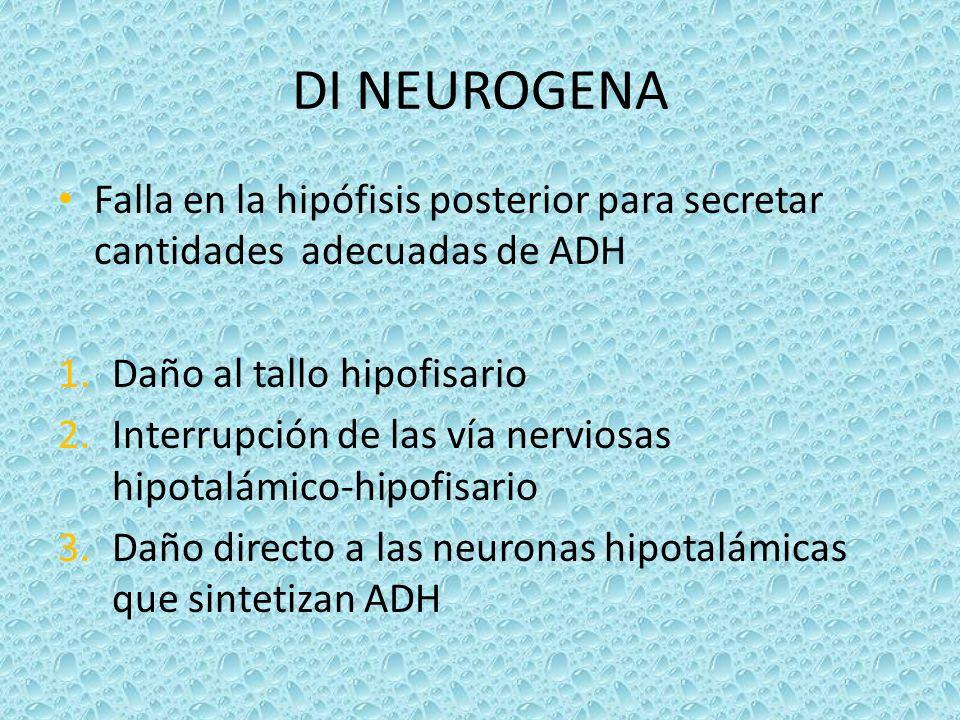 DI NEUROGENA Falla en la hipófisis posterior para secretar cantidades adecuadas de ADH. Daño al tallo hipofisario.