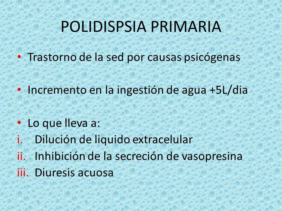 POLIDISPSIA PRIMARIA Trastorno de la sed por causas psicógenas