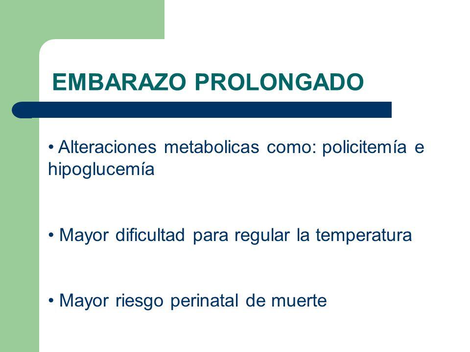 EMBARAZO PROLONGADO Alteraciones metabolicas como: policitemía e hipoglucemía. Mayor dificultad para regular la temperatura.