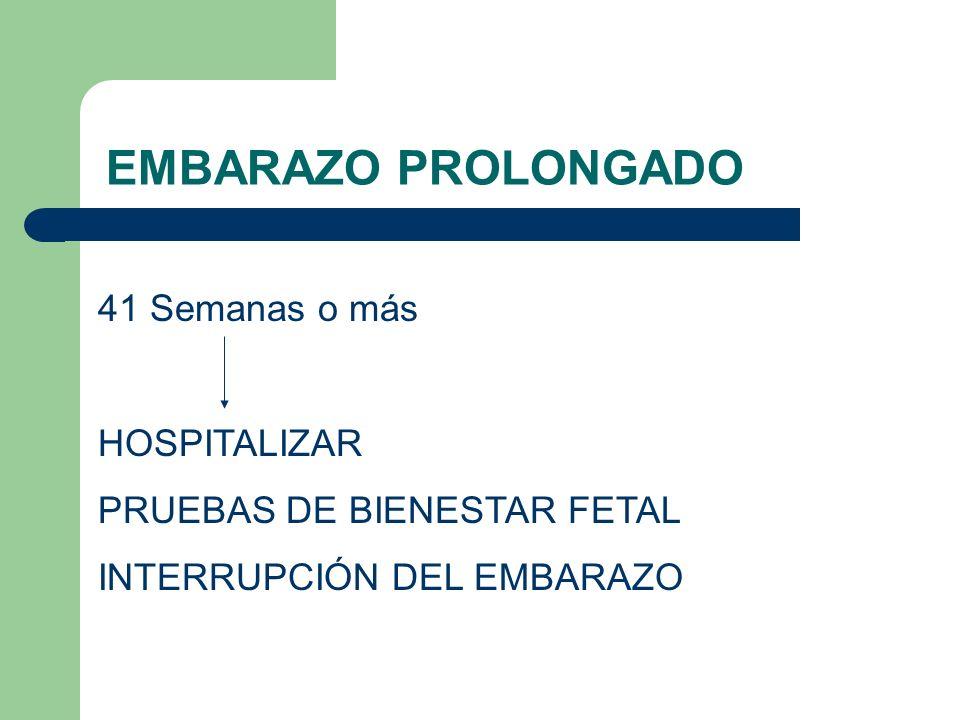 EMBARAZO PROLONGADO 41 Semanas o más HOSPITALIZAR