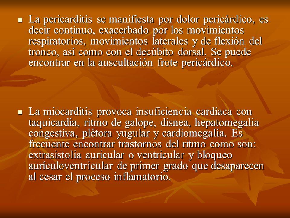 La pericarditis se manifiesta por dolor pericárdico, es decir continuo, exacerbado por los movimientos respiratorios, movimientos laterales y de flexión del tronco, así como con el decúbito dorsal. Se puede encontrar en la auscultación frote pericárdico.