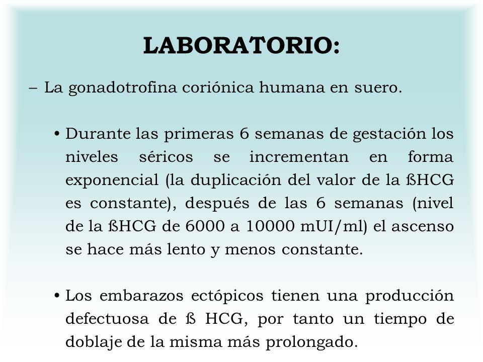 LABORATORIO: La gonadotrofina coriónica humana en suero.