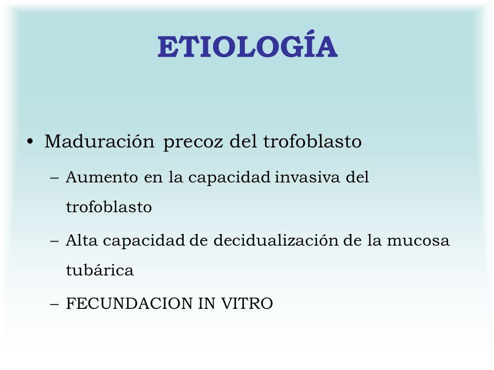 ETIOLOGÍA Maduración precoz del trofoblasto