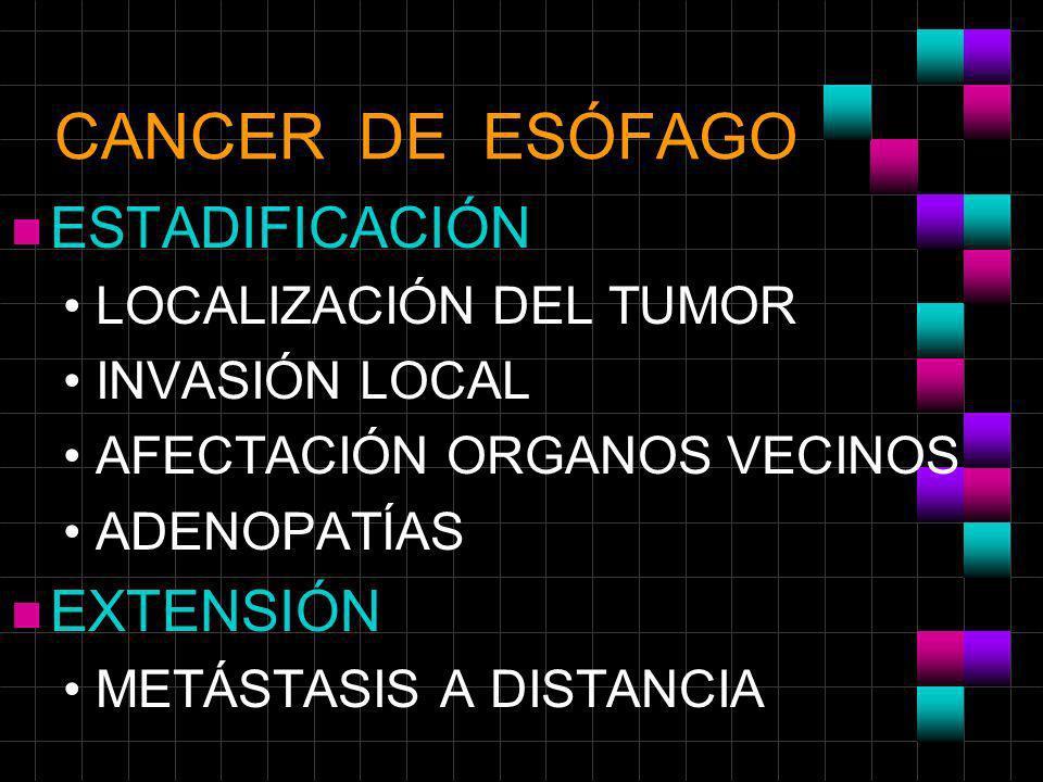 CANCER DE ESÓFAGO ESTADIFICACIÓN EXTENSIÓN LOCALIZACIÓN DEL TUMOR