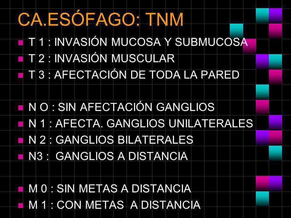 CA.ESÓFAGO: TNM T 1 : INVASIÓN MUCOSA Y SUBMUCOSA