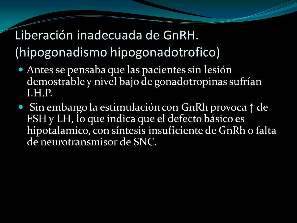 Liberación inadecuada de GnRH. (hipogonadismo hipogonadotrofico)