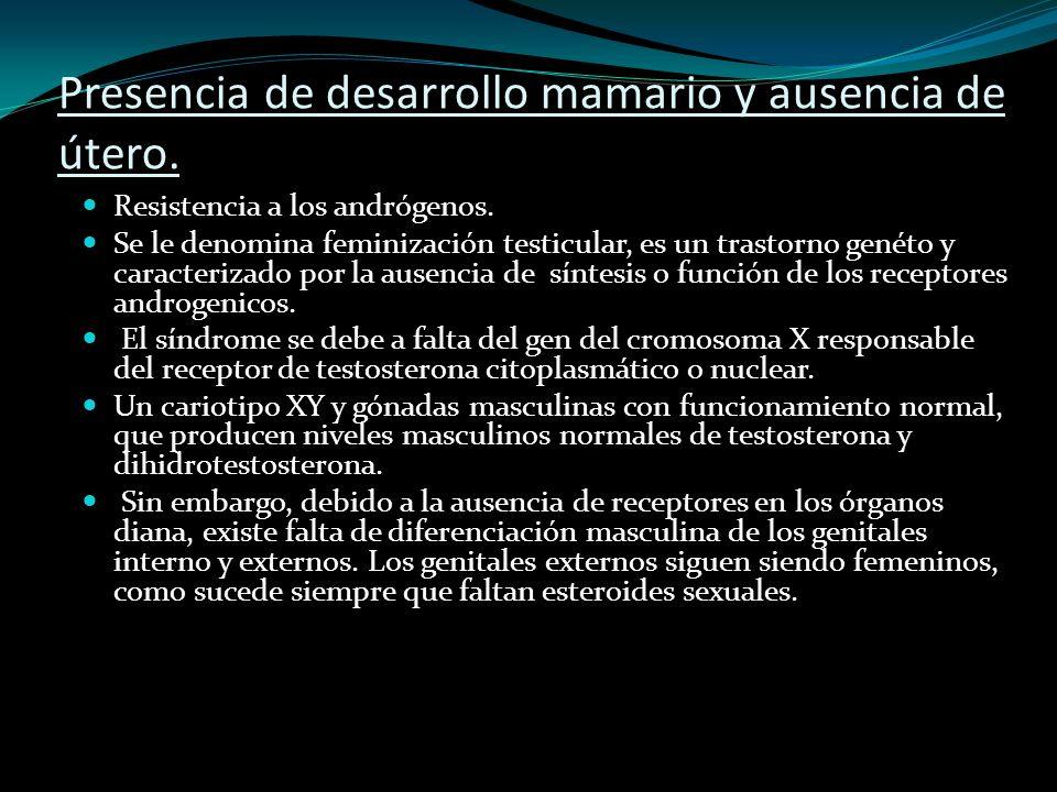 Presencia de desarrollo mamario y ausencia de útero.