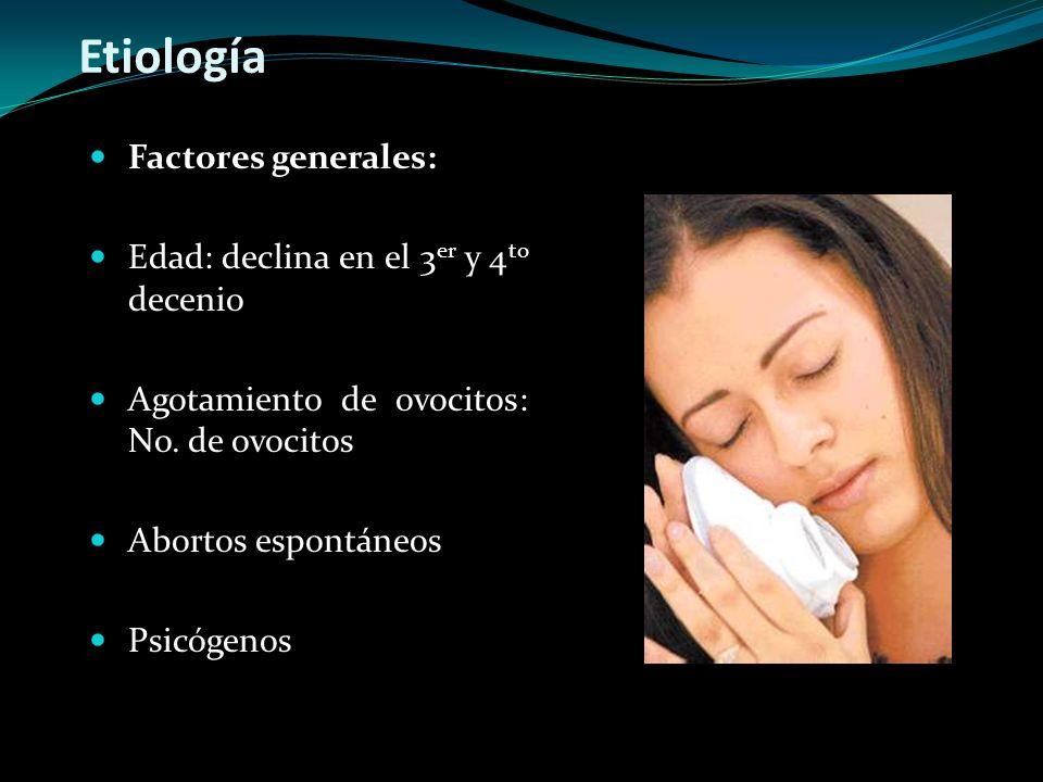 Etiología Factores generales: Edad: declina en el 3er y 4to decenio
