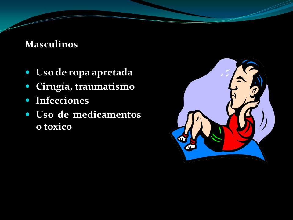 Masculinos Uso de ropa apretada Cirugía, traumatismo Infecciones Uso de medicamentos o toxico