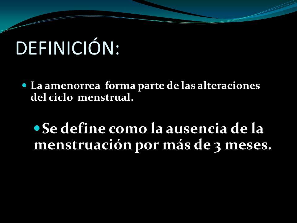 Se define como la ausencia de la menstruación por más de 3 meses.