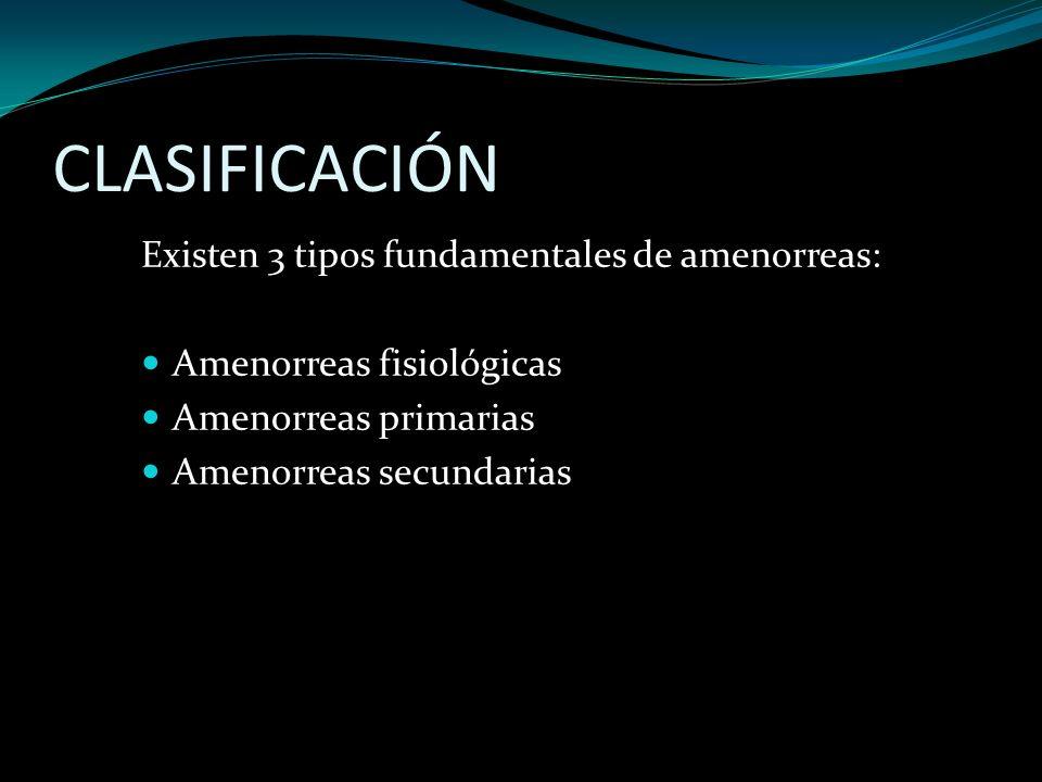 CLASIFICACIÓN Existen 3 tipos fundamentales de amenorreas: