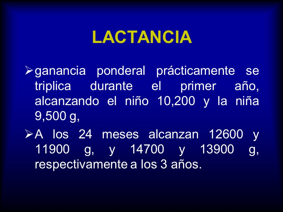 LACTANCIA ganancia ponderal prácticamente se triplica durante el primer año, alcanzando el niño 10,200 y la niña 9,500 g,