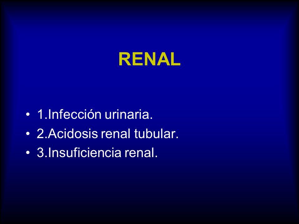 RENAL 1.Infección urinaria. 2.Acidosis renal tubular.