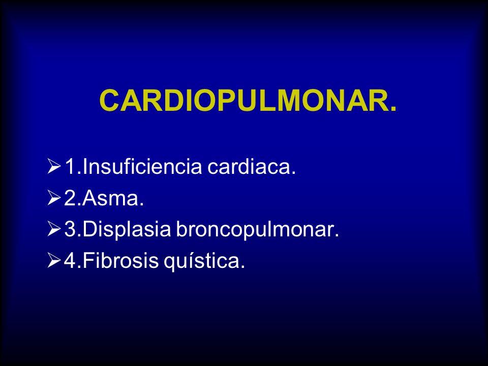 CARDIOPULMONAR. 1.Insuficiencia cardiaca. 2.Asma.
