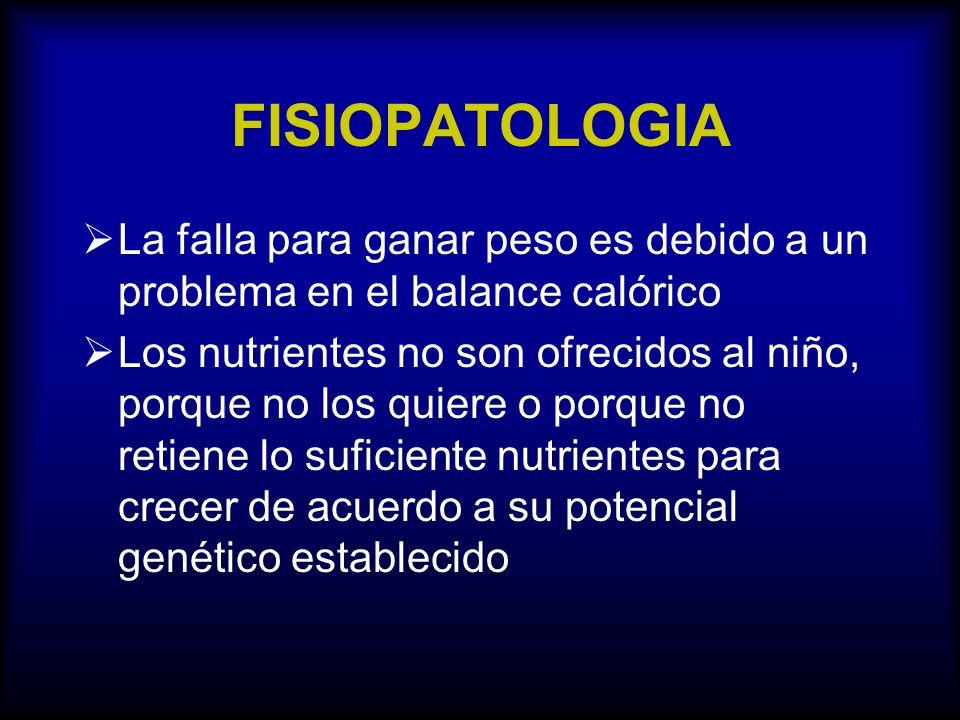 FISIOPATOLOGIA La falla para ganar peso es debido a un problema en el balance calórico.