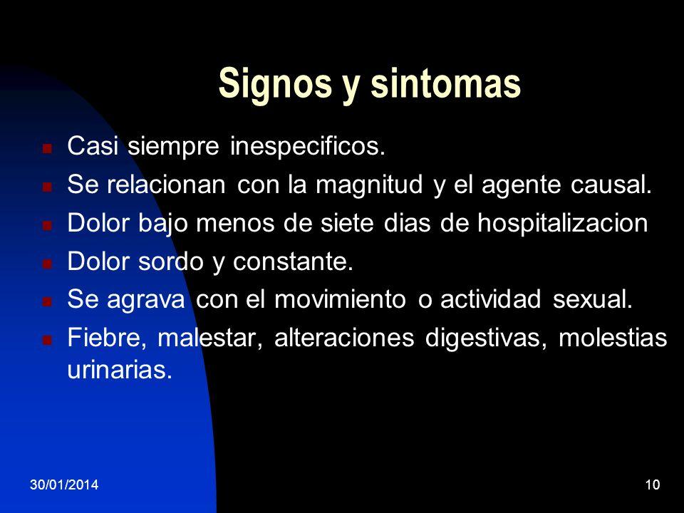 Signos y sintomas Casi siempre inespecificos.
