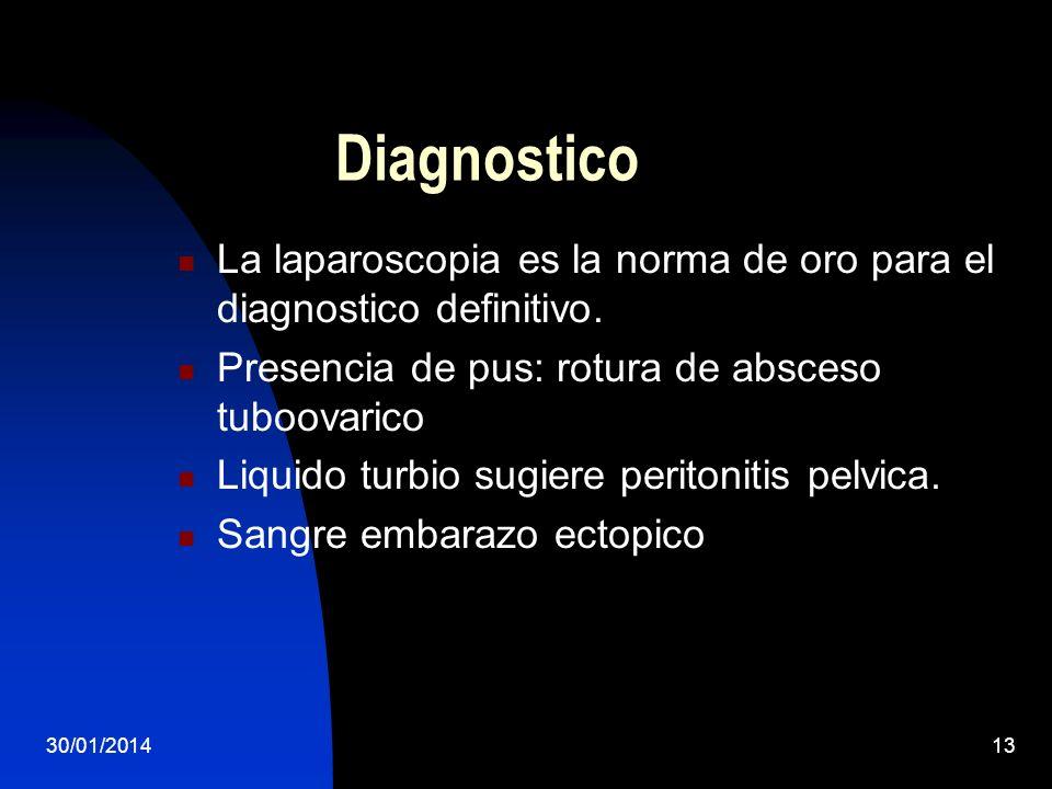 DiagnosticoLa laparoscopia es la norma de oro para el diagnostico definitivo. Presencia de pus: rotura de absceso tuboovarico.
