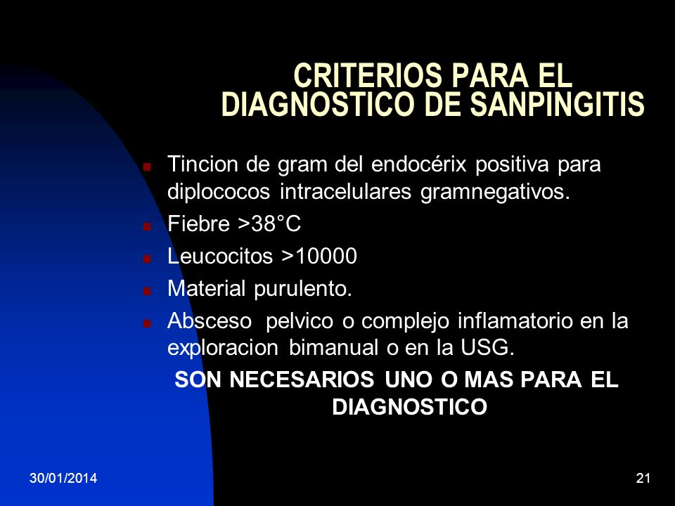 CRITERIOS PARA EL DIAGNOSTICO DE SANPINGITIS