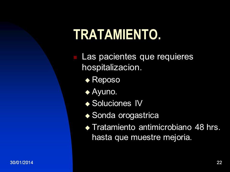 TRATAMIENTO. Las pacientes que requieres hospitalizacion. Reposo