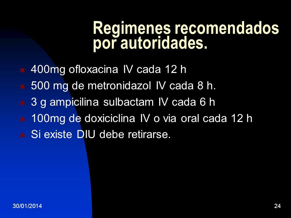 Regimenes recomendados por autoridades.