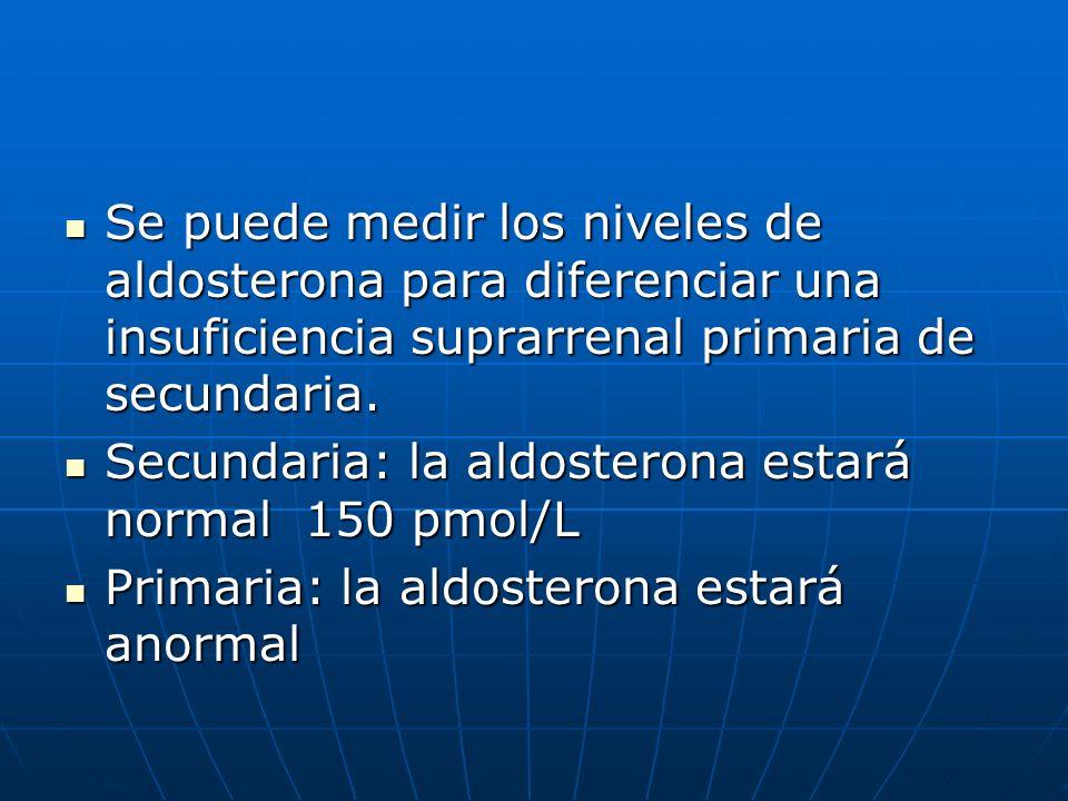 Se puede medir los niveles de aldosterona para diferenciar una insuficiencia suprarrenal primaria de secundaria.