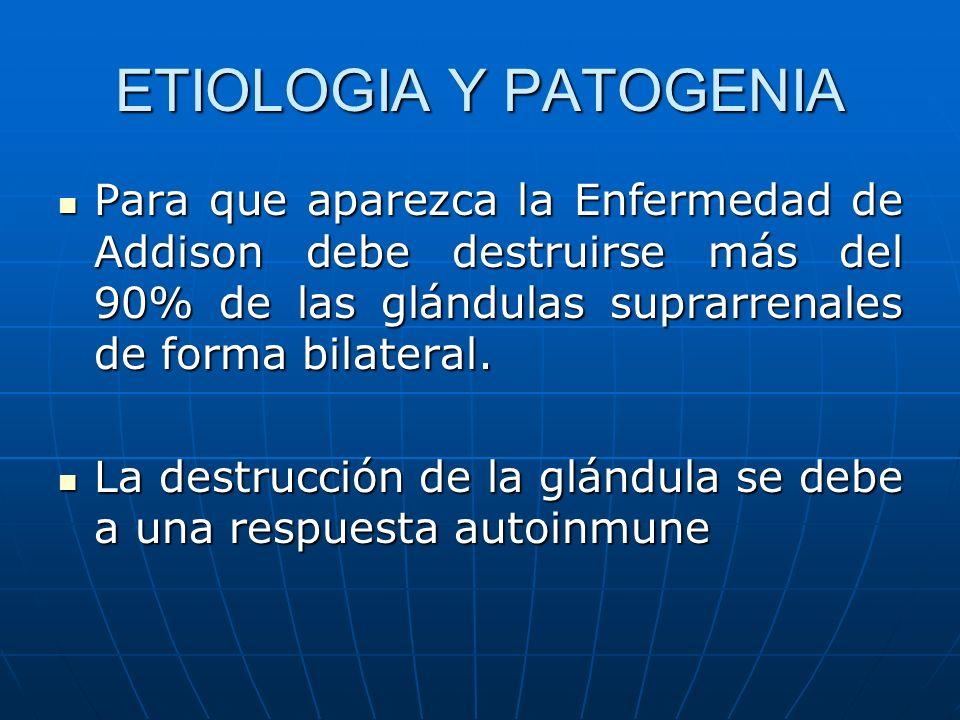 ETIOLOGIA Y PATOGENIAPara que aparezca la Enfermedad de Addison debe destruirse más del 90% de las glándulas suprarrenales de forma bilateral.