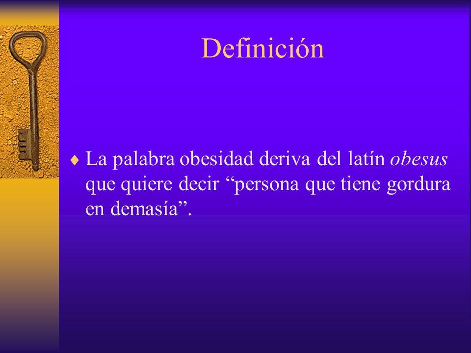 Definición La palabra obesidad deriva del latín obesus que quiere decir persona que tiene gordura en demasía .