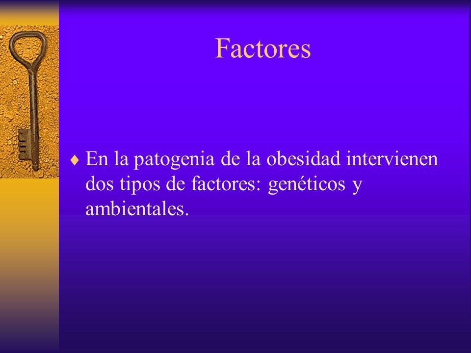 Factores En la patogenia de la obesidad intervienen dos tipos de factores: genéticos y ambientales.