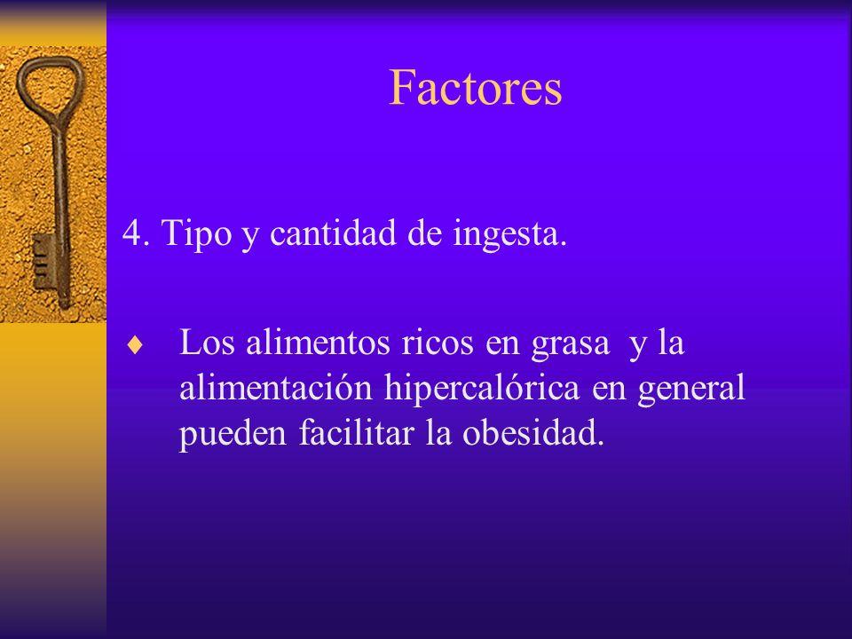 Factores 4. Tipo y cantidad de ingesta.