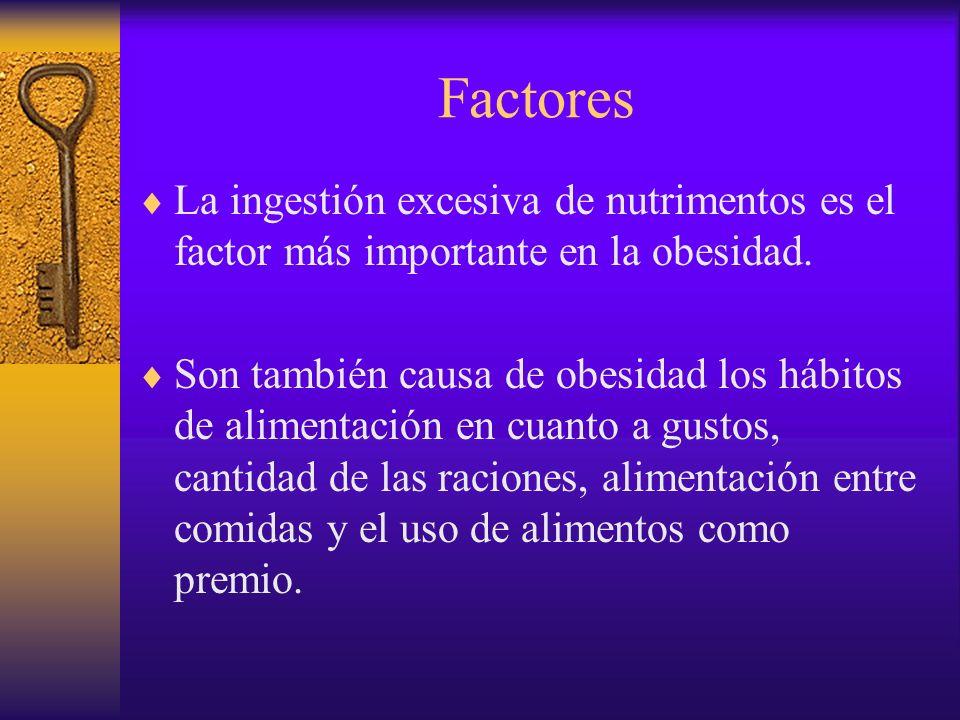 Factores La ingestión excesiva de nutrimentos es el factor más importante en la obesidad.