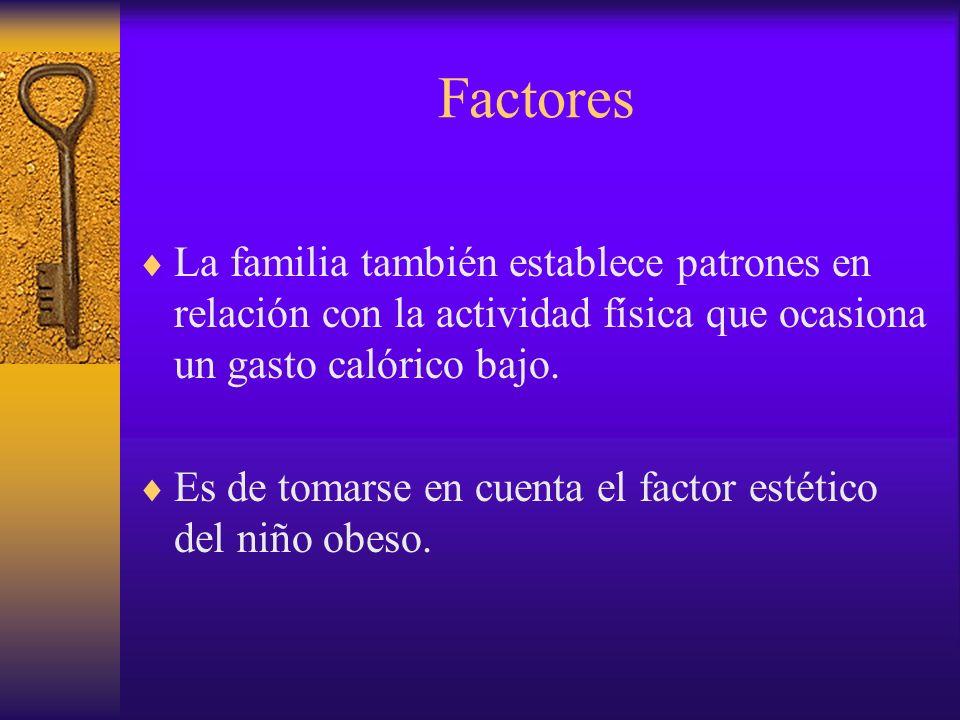 FactoresLa familia también establece patrones en relación con la actividad física que ocasiona un gasto calórico bajo.