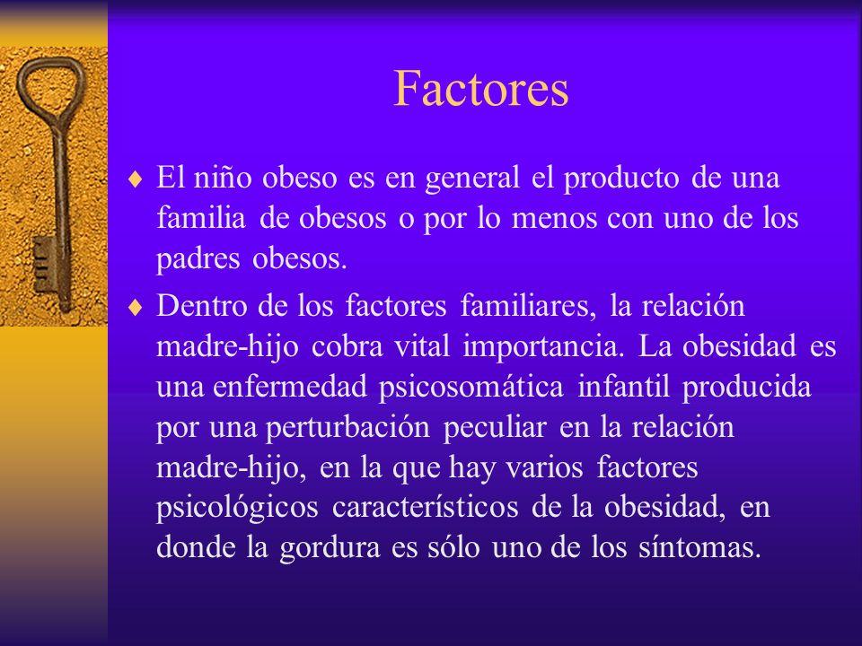 FactoresEl niño obeso es en general el producto de una familia de obesos o por lo menos con uno de los padres obesos.