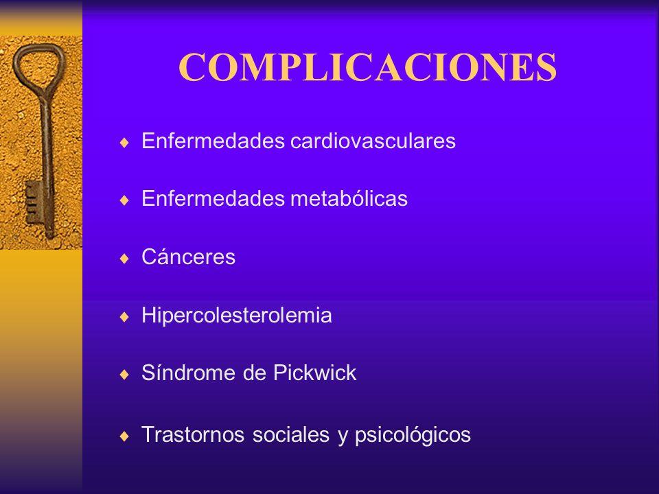 COMPLICACIONES Enfermedades cardiovasculares Enfermedades metabólicas