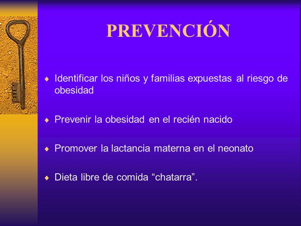 PREVENCIÓN Identificar los niños y familias expuestas al riesgo de obesidad. Prevenir la obesidad en el recién nacido.