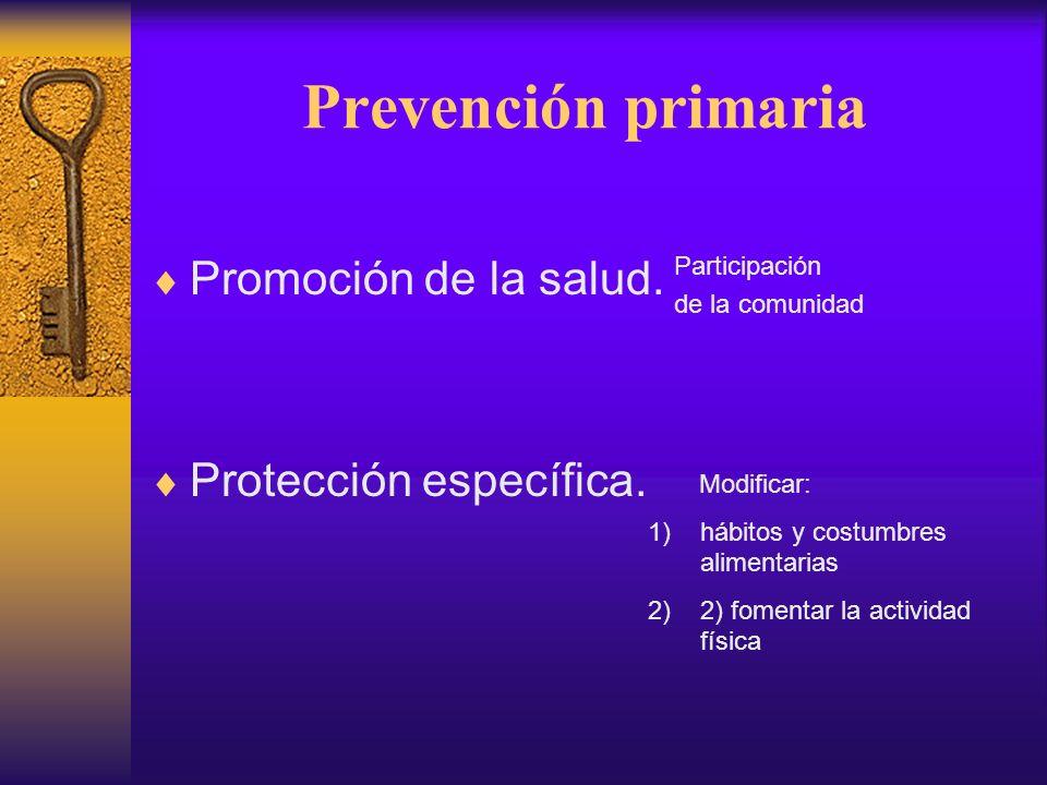Prevención primaria Promoción de la salud. Protección específica.