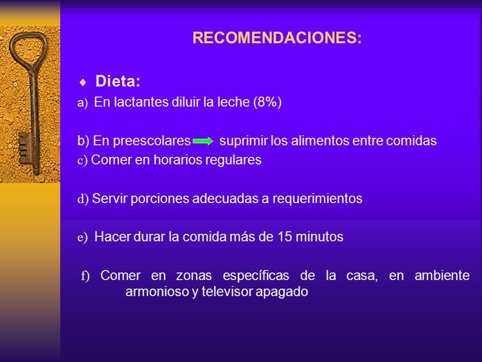 RECOMENDACIONES: Dieta:
