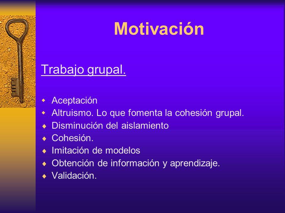 Motivación Trabajo grupal. Aceptación