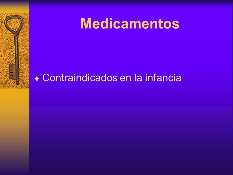 Medicamentos Contraindicados en la infancia