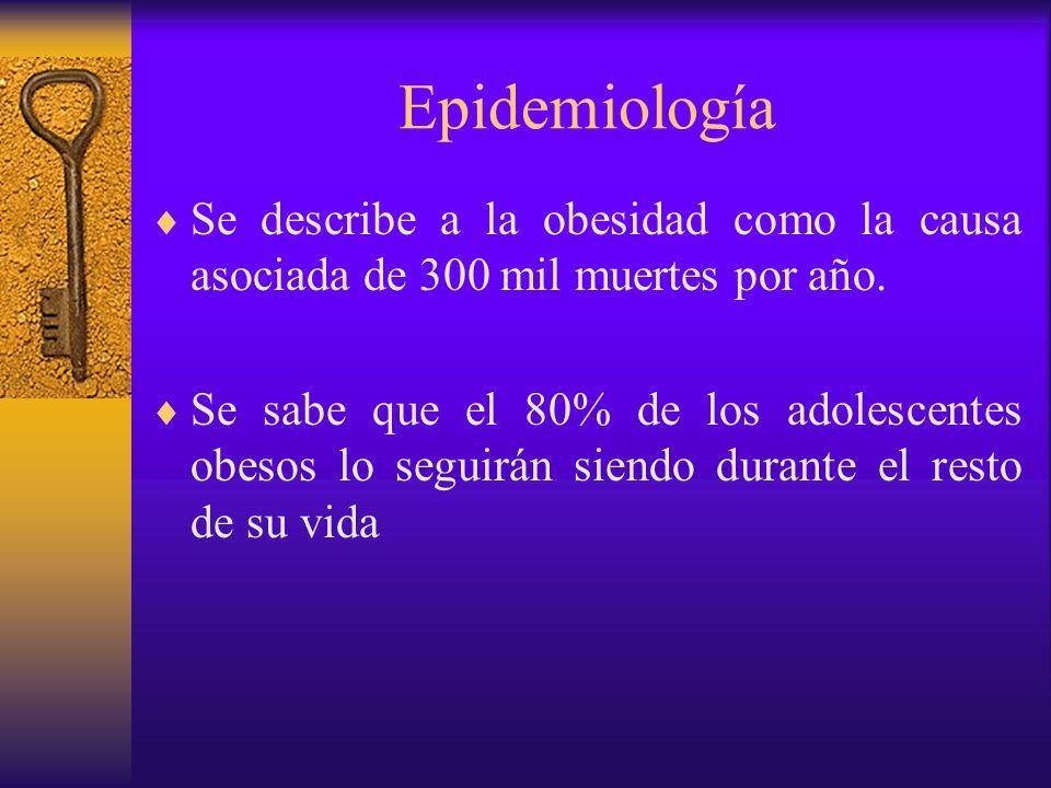 EpidemiologíaSe describe a la obesidad como la causa asociada de 300 mil muertes por año.