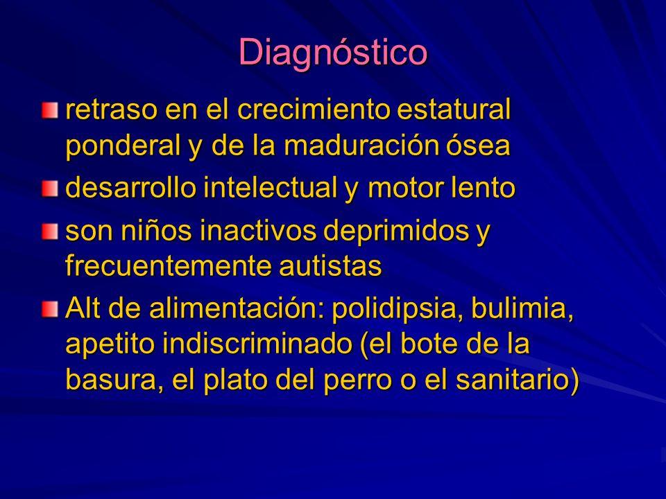 Diagnóstico retraso en el crecimiento estatural ponderal y de la maduración ósea. desarrollo intelectual y motor lento.