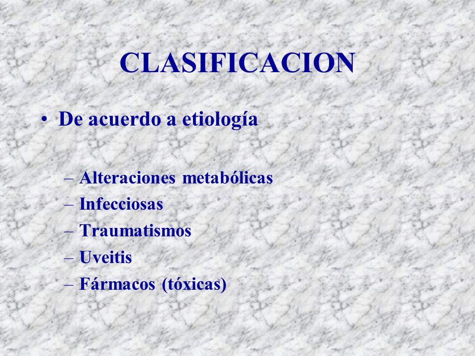 CLASIFICACION De acuerdo a etiología Alteraciones metabólicas