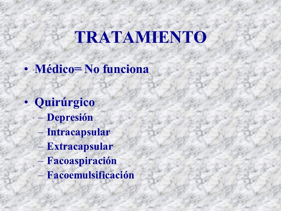 TRATAMIENTO Médico= No funciona Quirúrgico Depresión Intracapsular