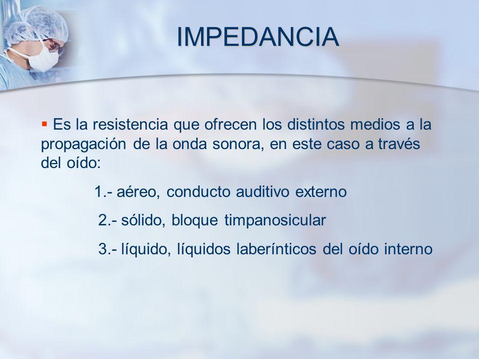 IMPEDANCIAEs la resistencia que ofrecen los distintos medios a la propagación de la onda sonora, en este caso a través del oído: