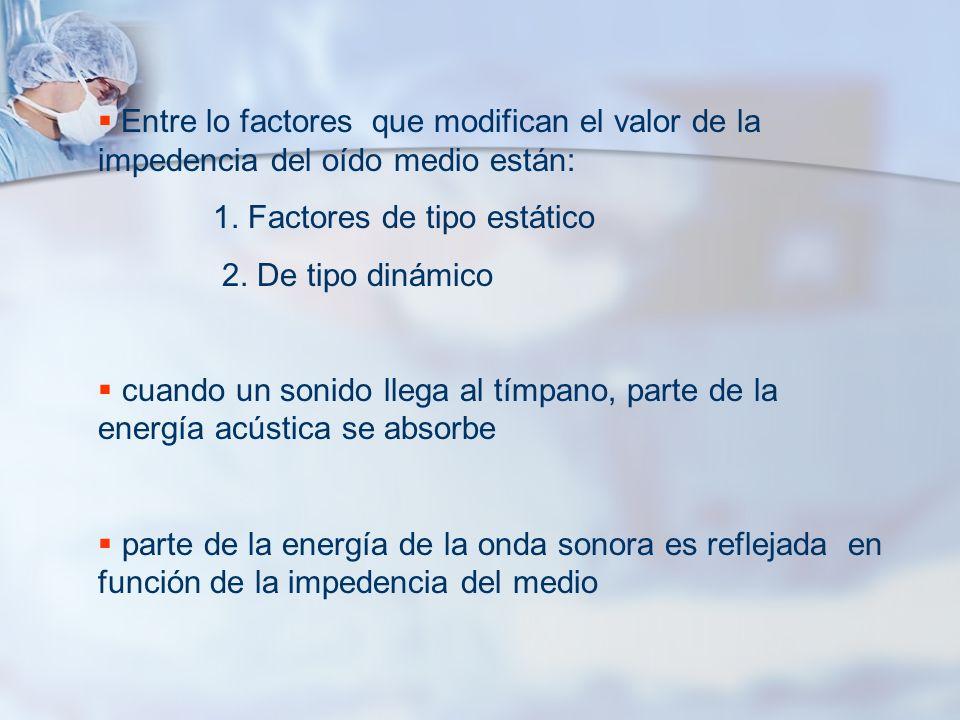 Entre lo factores que modifican el valor de la impedencia del oído medio están: