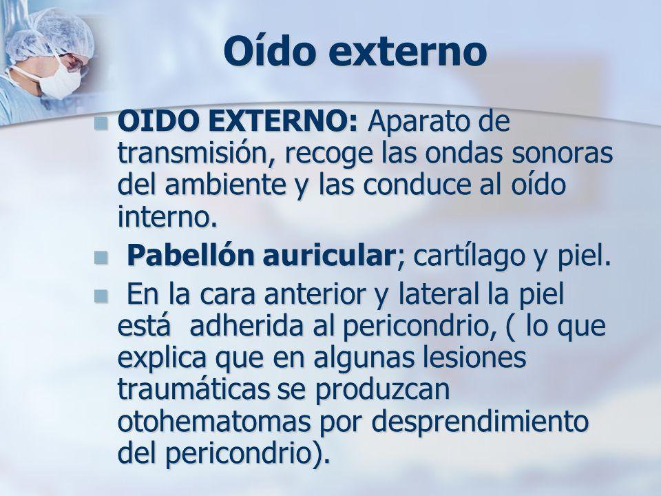 Oído externoOIDO EXTERNO: Aparato de transmisión, recoge las ondas sonoras del ambiente y las conduce al oído interno.